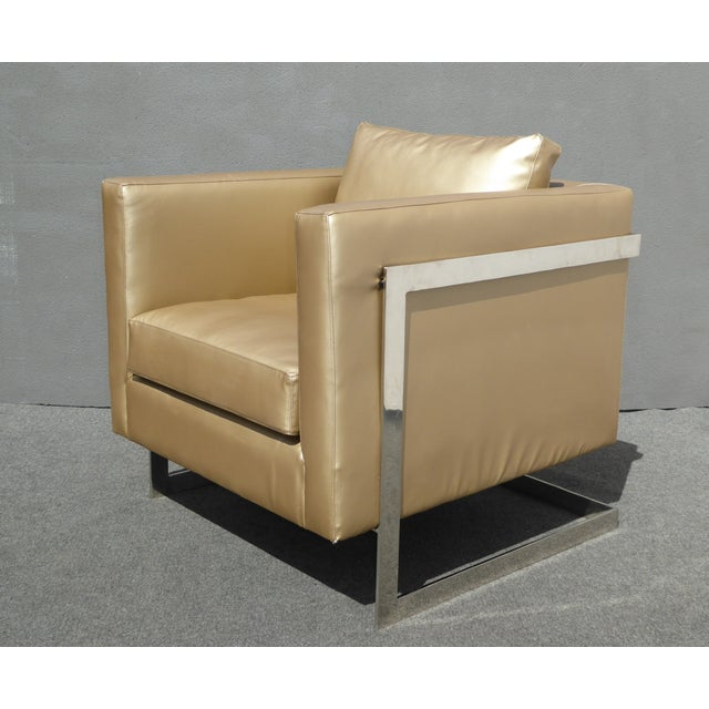 Design Within Reach Mid Century Gold Chrome Club Chair Contemporary Modern Style For Sale - Image 4 of 11