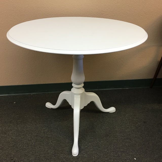 Ethan Allen Round Pale Robins Egg Blue & Glass Tripod Based Table - Image 2 of 7