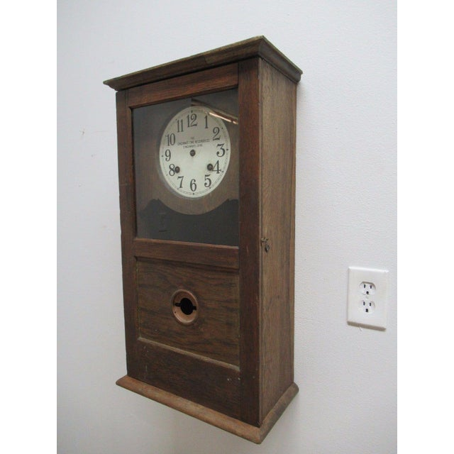American Classical Antique American Classical Style Oak Time Recorder Clock For Sale - Image 3 of 7