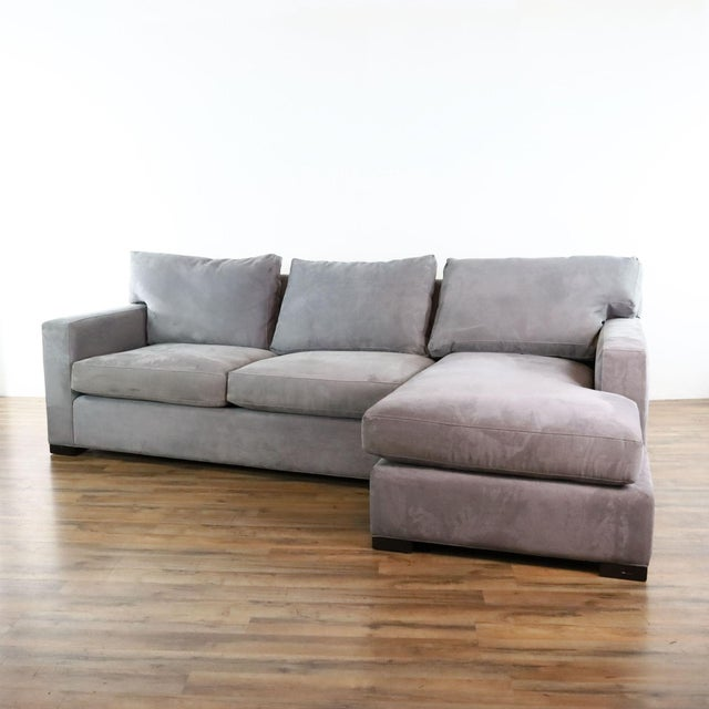 Modern Crate & Barrel Gray Upholstered Sectional Sofa For Sale - Image 3 of 9