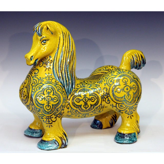 Large and heavy Italian pottery horse by the Mancioli Pottery, circa 1960s. The muscular figure standing proud with...