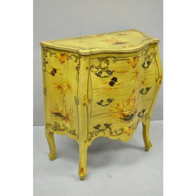 Vintage Italian Hand Painted Yellow Chinoiserie Bombe Commode Chest. Item features hand painted scenes to front, top and...