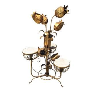 Hollywood Regency Gilt Floor Lamp For Sale