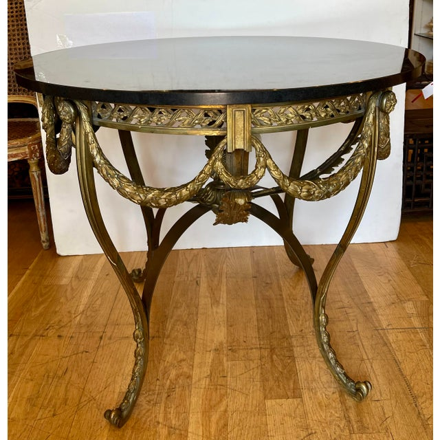 19th Century Antique French Bronze Regency Black Marble Top Table For Sale - Image 5 of 5