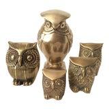 Image of Vintage Mid Century Hollywood Regency Brass Owls - Set of 5 For Sale