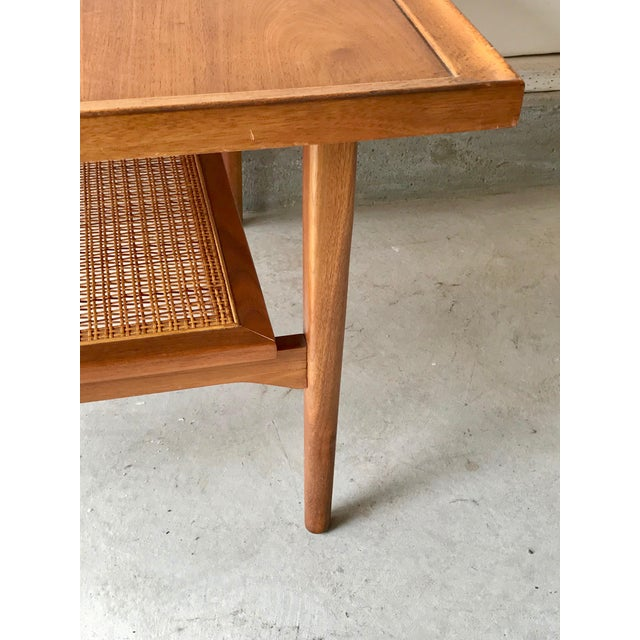 1960s 1960s Vintage Drexel Side Table With Caned Shelf For Sale - Image 5 of 6