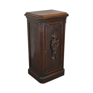 Antique 19th Century Walnut Renaissance Revival Music Cabinet With Bronze Figural Plaque For Sale