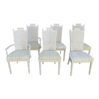 Hollywood Regency Vintage Faux Bamboo Six Dining Room Chairs For Sale