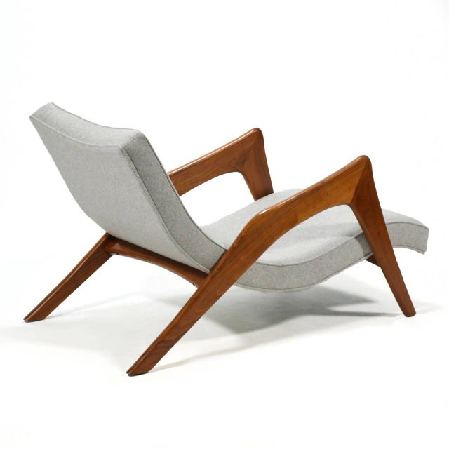 1950s Adrian Pearsall Pair of Crescent Lounge Chairs and Ottomans For Sale - Image 5 of 10