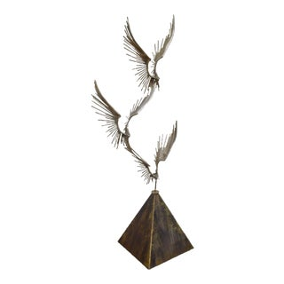 Curtis Jere Large Chromed Metal Birds in Flight Sculpture (B)
