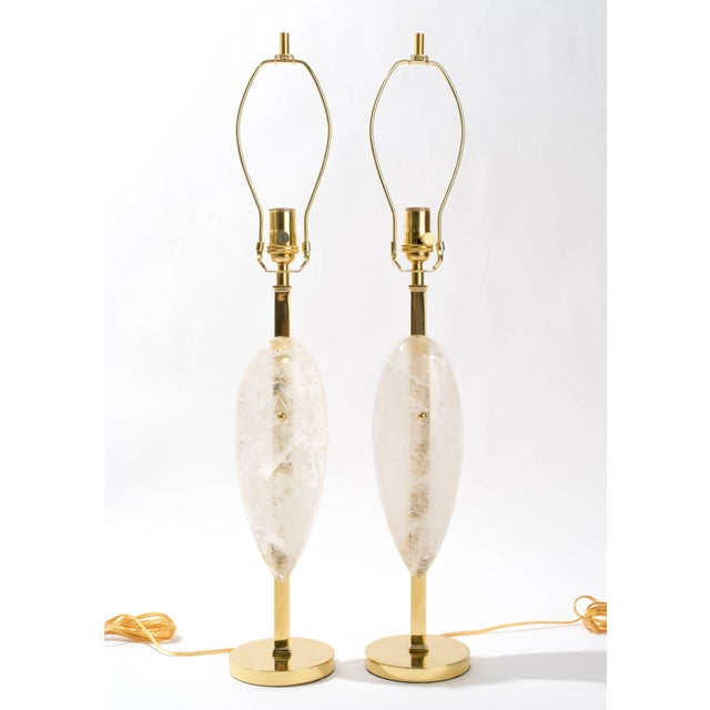 """Eon collection, """"Purity"""" Handcrafted brass and large clear tear drop quartz table lamps. Signed by the artist on the..."""