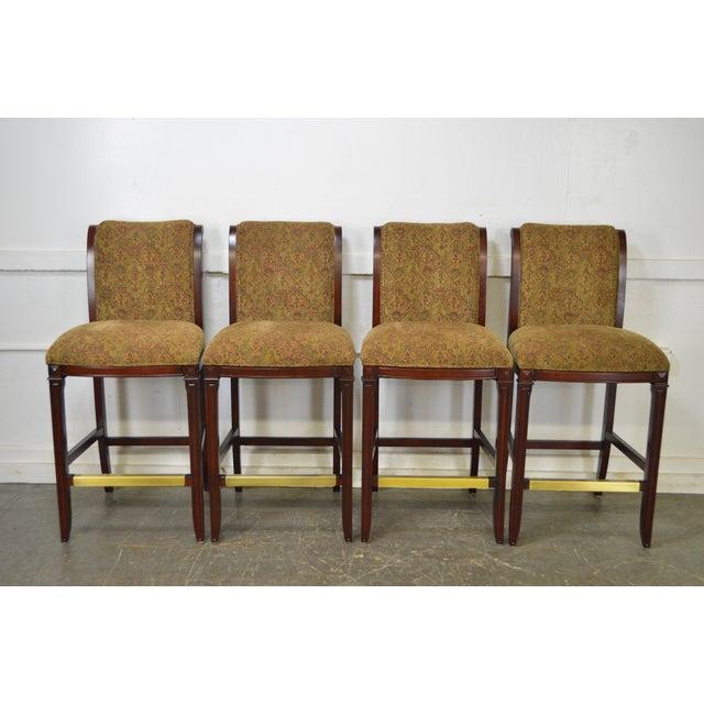 Drexel Mahogany Frame & Upholstered Bar Stools - Set of 4 - Image 8 of 10