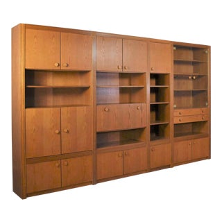 Vintage Modern Oak 4 Section Modular Wall Unit From the Lord Series by Kämper Intl For Sale
