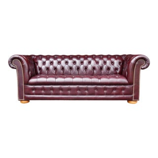 1980s Burgundy Red Leather Chesterfield Sofa For Sale