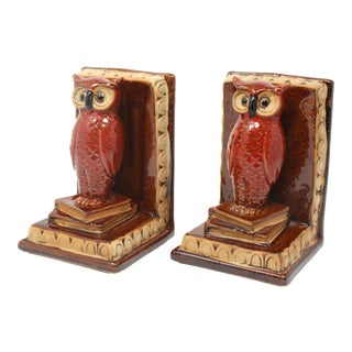 Vintage Owls and Books Pottery Bookends - a Pair For Sale