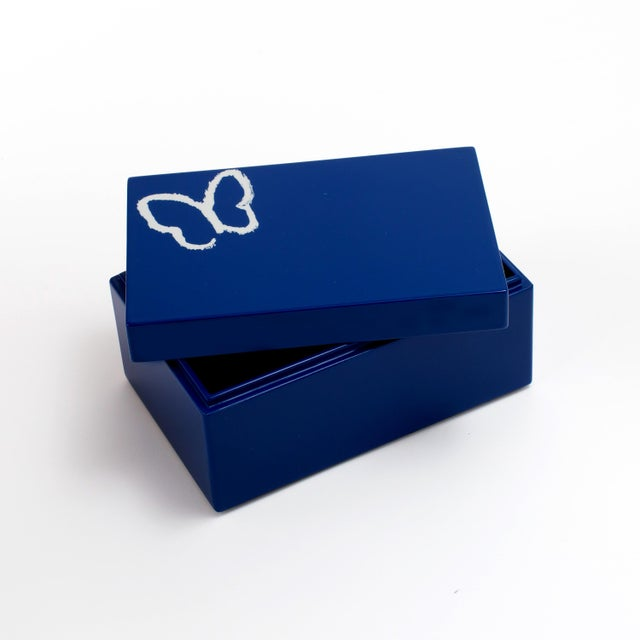 2020s Hunt Slonem's Lacquered Blue Butterfly Box Set For Sale - Image 5 of 6