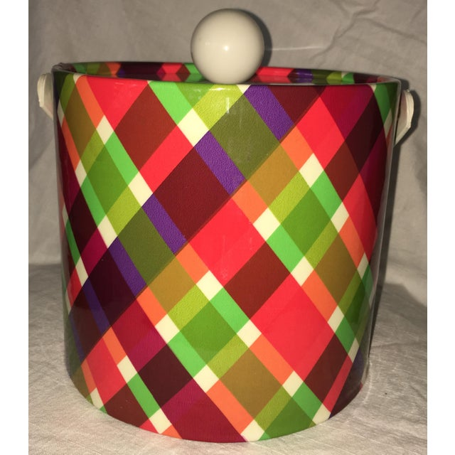 Mid-Century Modern Vintage Plaid Retro Ice Bucket For Sale - Image 3 of 8