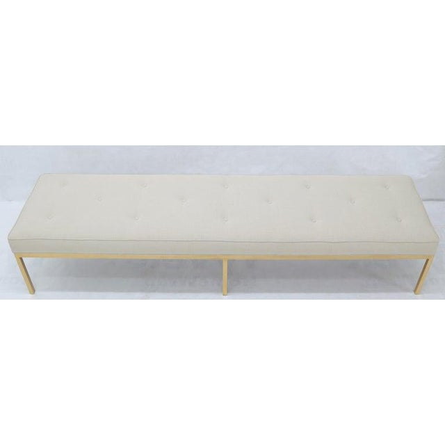 Extra Long Solid Brass Base Frame Spring Loaded New Upholstery Bench Daybed For Sale - Image 4 of 13