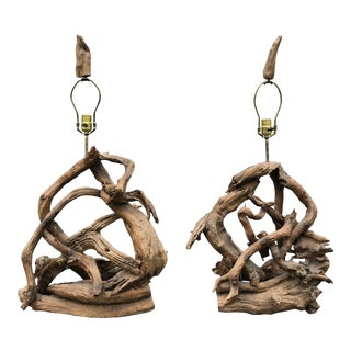 Vintage 1960s Driftwood Freeform Table Lamps - a Pair