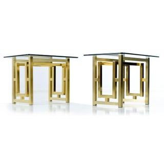 Pair of Hollywood Regency Mid-Century Modern Milo Baughman Gold Brass End Tables Preview