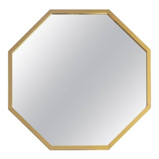 Italian Octagonal Brass Framed Mirror For Sale