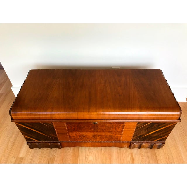 Beautiful Art Deco storage trunk with a waterfall front and cedar interior. Probably Lane Furniture but no markings remain...