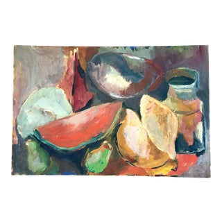 Vintage Still Life on Canvas With Watermelon and Pears