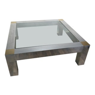 1970s Hollywood Regency Paul Evans Style Aluminum and Brass Parsons Coffee Table For Sale