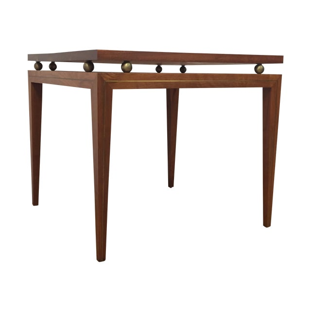 Mid-Century Solid Walnut & Brass Side Table - Image 1 of 11