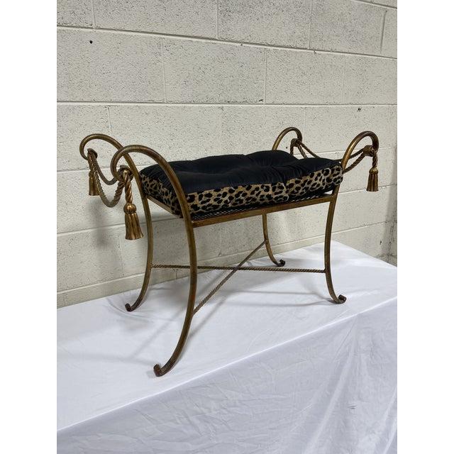 1950s Italian Hollywood Regency Scroll Tassel Vanity Bench For Sale - Image 13 of 13