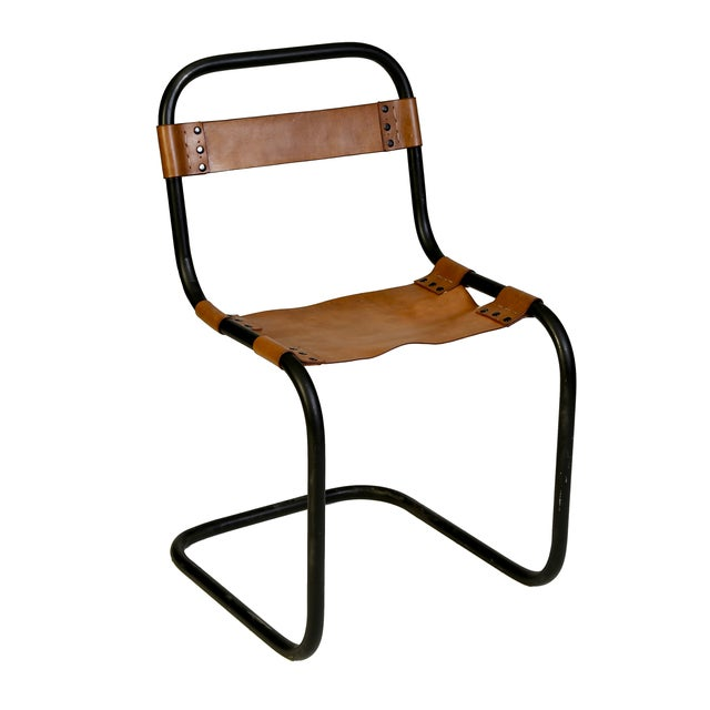 Metal and Vaqueta Leather Chair - Image 1 of 2