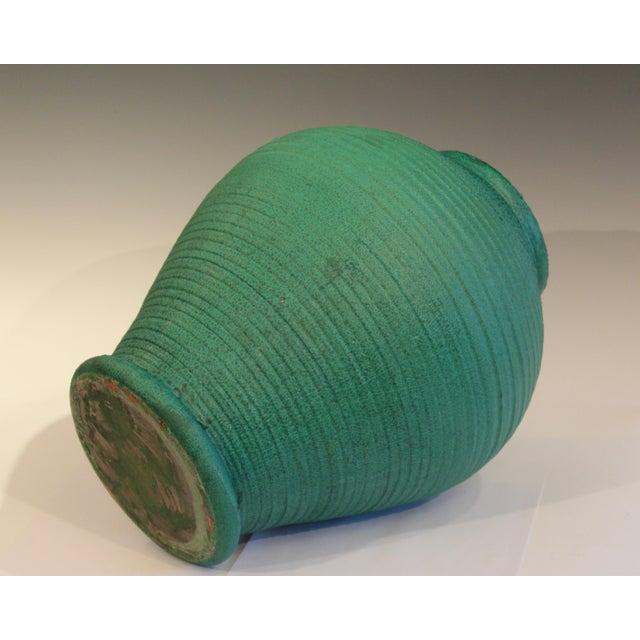 1900 - 1909 Large Merrimac Pottery Vase Antique Matt Green American Arts & Crafts For Sale - Image 5 of 10