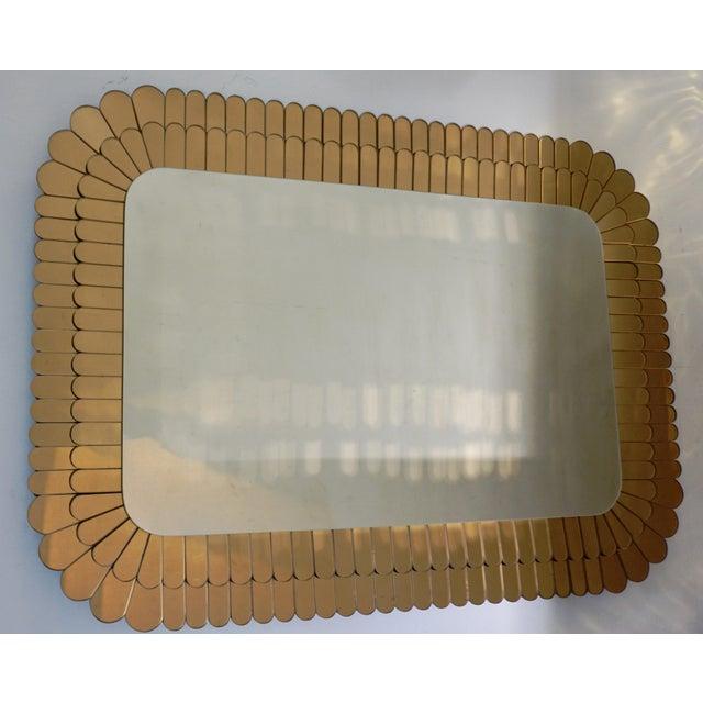Art Deco Contemporary Italian Scalloped Double Frame Silvered Bronze Murano Glass Mirror For Sale - Image 3 of 11