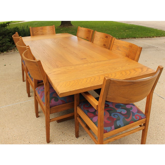 Mid-Century Modern Conant Ball Oak Dining Table and 8 Chairs For Sale - Image 3 of 11