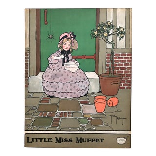 Early 20th Century Antique Little Miss Muffet Original Nursery Print For Sale