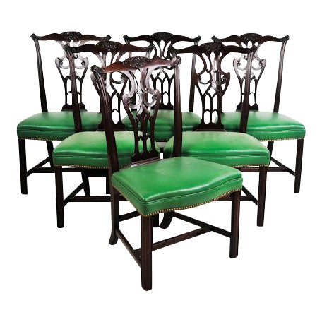 Green Vinyl Upholstered Chippendale Dining Chairs - Set of 6 - Image 1 of 10
