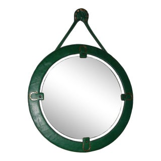 1950s Green Mirror by Jacques Adnet For Sale