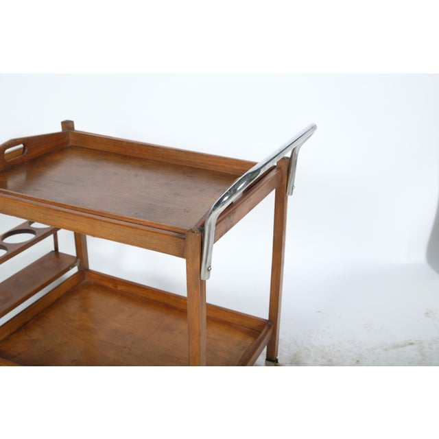 Brown Mid-Century Wooden Bar Cart For Sale - Image 8 of 11