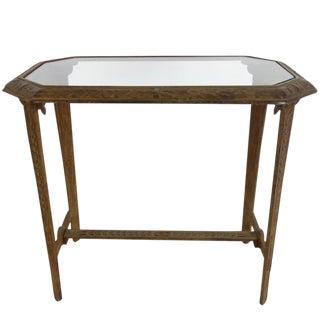 Art Deco Cast Iron and Glass Side Table