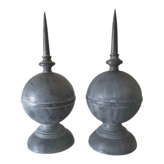Vintage Mid Century Vintage French Zinc Finials- A Pair For Sale