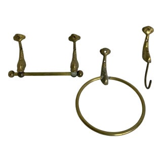 Set of 3 Brass Asian Dolphin Koi Bathroom Accessories For Sale