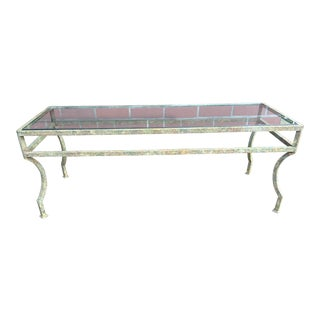 Oxidized Patinated Iron & Glass coffee Table For Sale