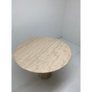 Italian Round Pedestal Travertine Dining Table Preview