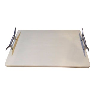Vintage Wood Tray With Aluminum Longhorn Handles For Sale