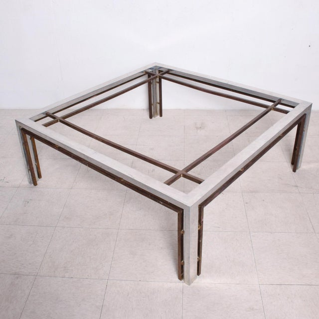 Gold Mid Century Mexican Modernist Large Coffee Table Arturo Pani Aluminum Bronze For Sale - Image 8 of 9