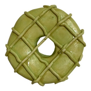 Grid Donut Ceramic Wall Sculpture For Sale
