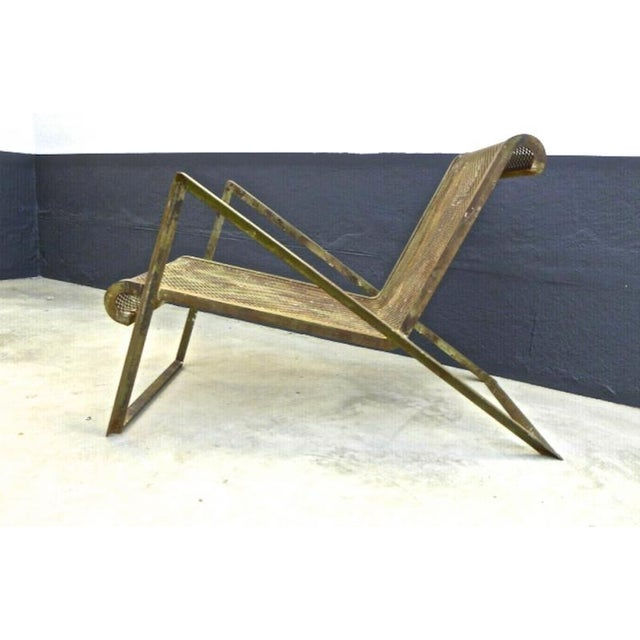 Jean Royere Early Rarest Documented Perforated Iron Lounge Chair For Sale - Image 6 of 12