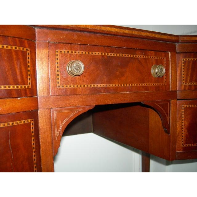 Wood Hepplewhite Mahogany Inlay Desk For Sale - Image 7 of 13