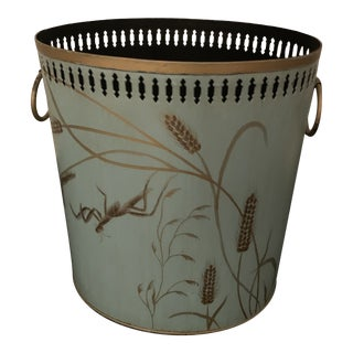 Late 20th Century Hand Painted Tole Waste Basket For Sale