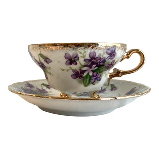Vintage Royal Sealy Violets Footed Tea Cup and Saucer With Gilt Trim For Sale